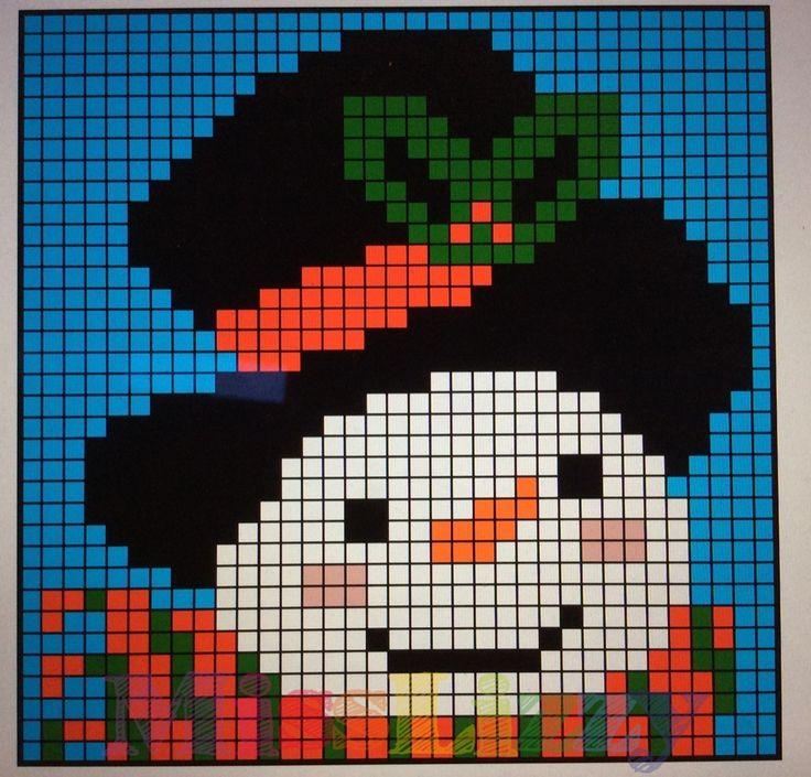 Christmas crochet blanket block #3 snowman | Miss Lizzy