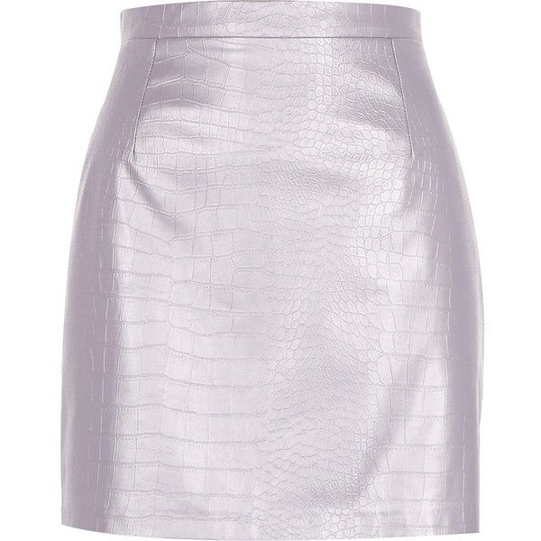River Island Purple metallic leather-look skirt ($19) ❤ liked on Polyvore featuring skirts, mini skirts, purple, sale, mini skirt, pink faux leather skirt, short skirts, river island and purple skirt