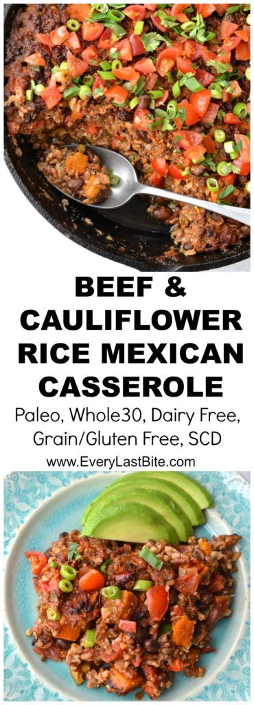 Beef and Cauliflower Rice Mexican Casserole