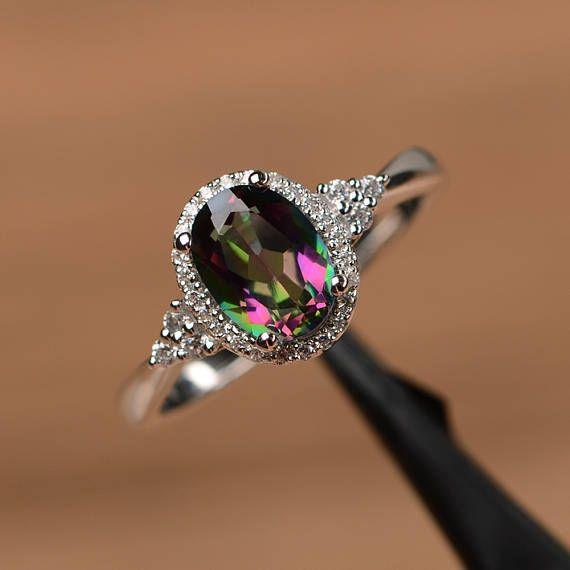 Topacio místico anillo oval corte promesa anillo de compromiso