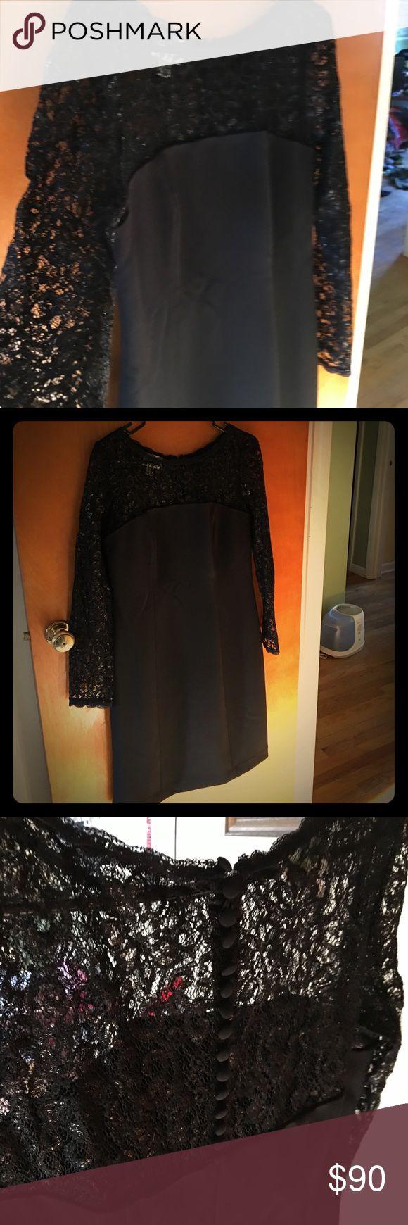 Donna Morgan Black Vintage Dress! Black Donna Morgan Dress... worn only once!! Beautiful ...excellent condition! Donna Morgan Dresses Long Sleeve