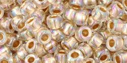 As low as $1.67 #TR06-994/c #TOHO Seed Bead Round 6/0 Gold-Lined Rainbow Crystal.