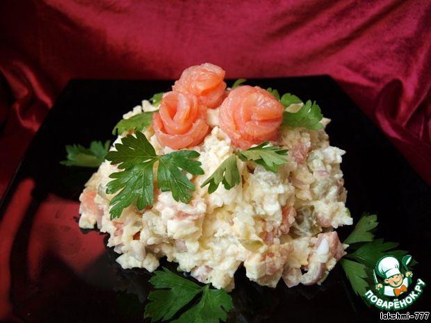 Рисовый салат с красной рыбой