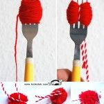 Small POM-POMS with a FORK