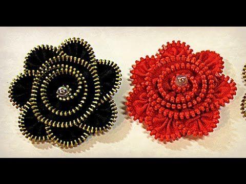 como elaborar hermosas flores para el cabello con cierres No.50 Manualidades la Hormiga - YouTube