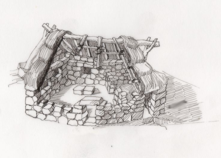 The so called 'pinnetta' with rectangular plant at Palmavera nuragic structure. Ideal reconstruction made by F.Carta photo by lhr