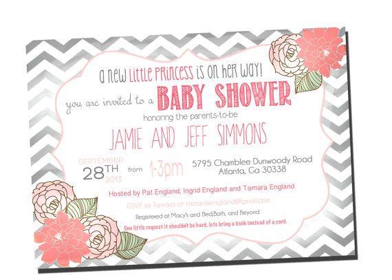 Baby Girl Shower Invitation Shabby Chic, Chevron Invitation Pink and Grey, on Etsy, $13.00