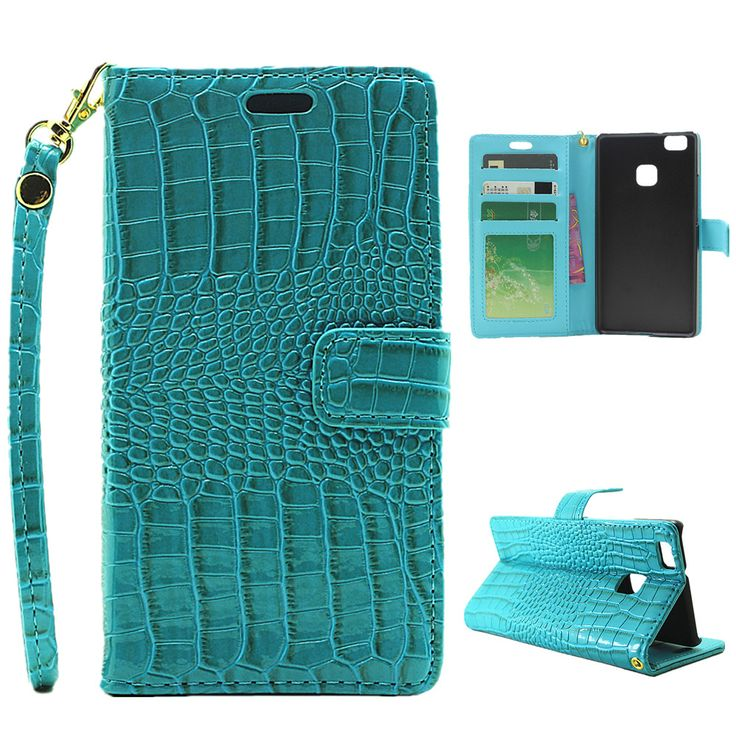 For Huawei P9 Lite / P 9 Lite / P9 Alligator Leather Wrist Strap Flip Wallet Card Case For Huawei Ascend P9 Lite Women Cover Bag