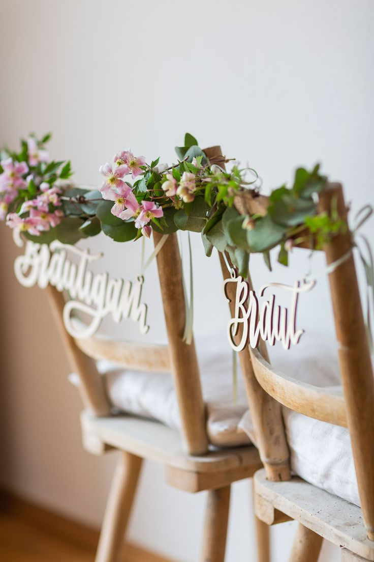 Chair sign Wedding Bride and Groom – ideas for decoration