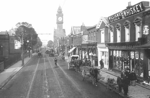 Old Dublin view c1910 of   Rathmines village on the city's south side, with tram tracks & Town Hall clock tower.