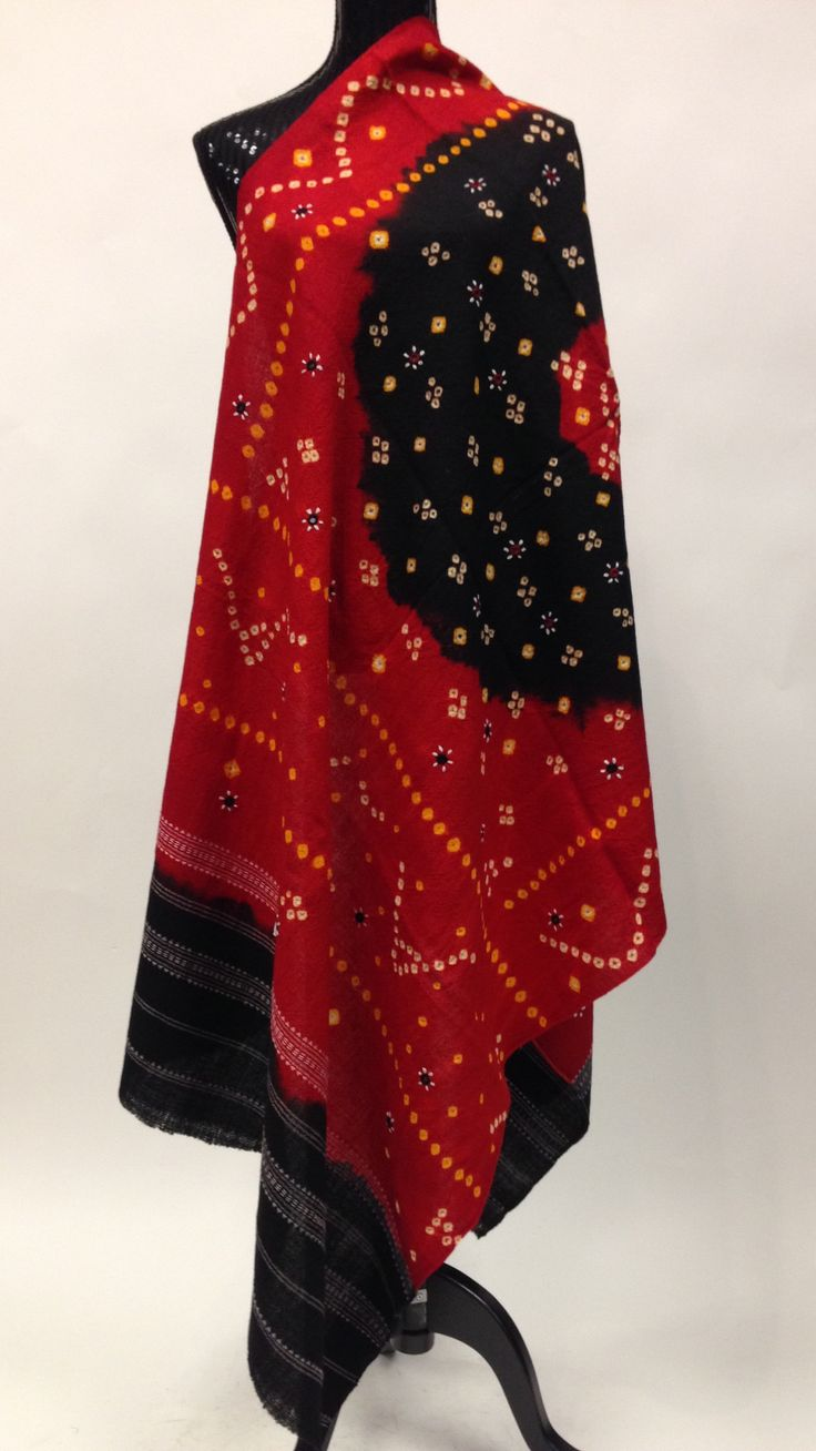 Gujarati Hand Embroidery Shawl - Red & Black