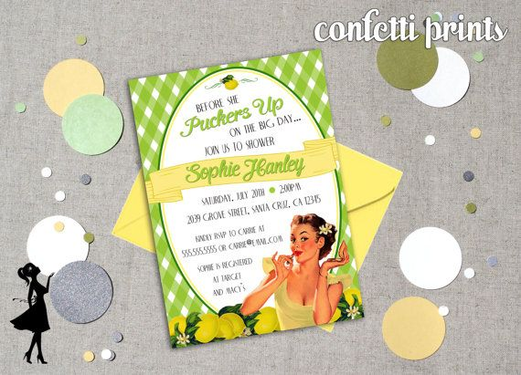 Retro Bridal Shower Invitation  PUCKER UP by ConfettiPrintsShop, $12.00