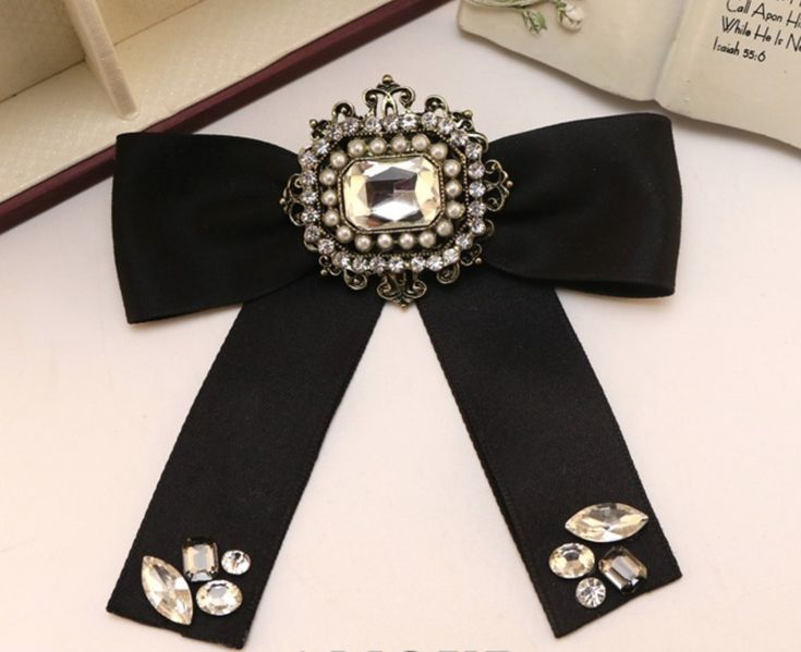 Black Ribbon British Tie Women Accessories Bow Collar Fashion Brooch Pin #Handmade