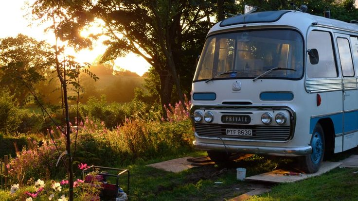 The Majestic Bus is a mini-hotel inside a former bus in Hay-on-Wye, Wales.