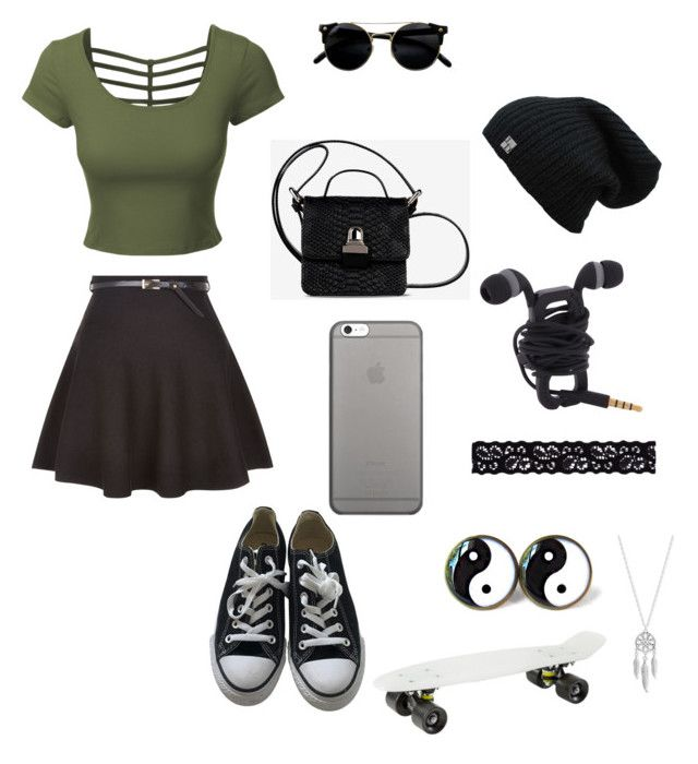 """Skater Girl"" by bfountain2020 ❤ liked on Polyvore featuring LE3NO, New Look, MM6 Maison Margiela, Converse, Native Union, Akira and Lucky Brand"