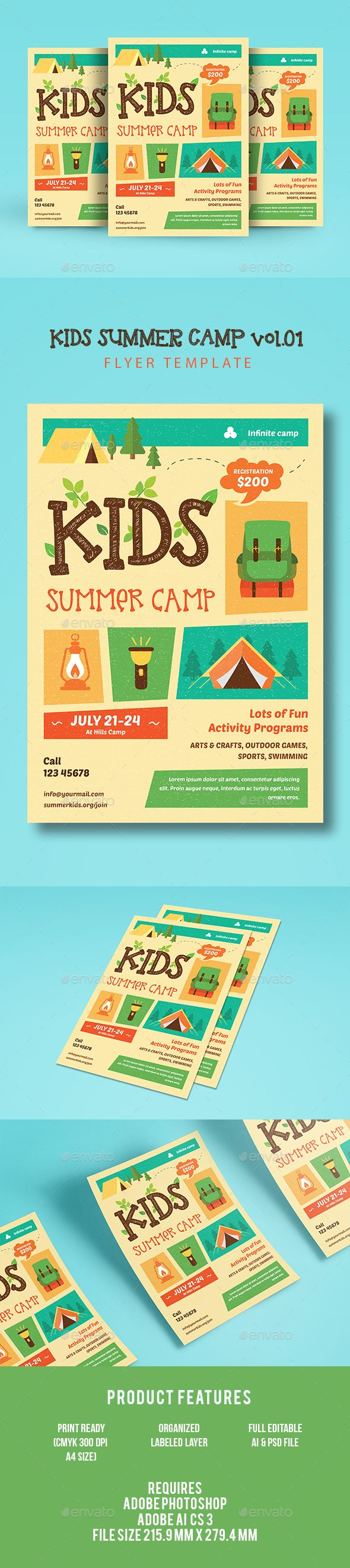 Kids Summer Camp. Print-templates Flyers Events. To make this pin discoverable activity, adventure, advert, advertisement, arts, camp, child, children, class, community, crafts, easter, family, fun, holiday, indie camp, kid, kids, kindergaten, outdoor, play, play group, poster, program, recreation, sport, summer, summer camp, summer camp flyer, and summer kids camp.