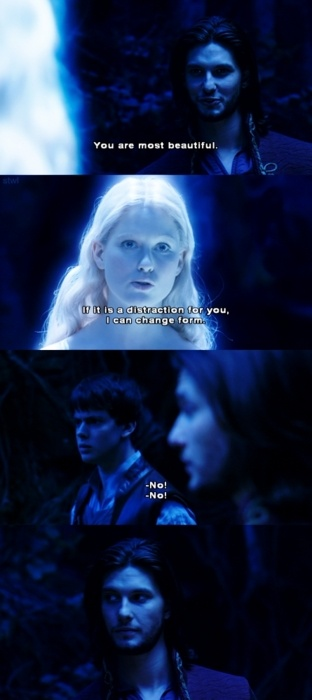 Caspian: You are most beautiful. Lilliandil: If it is a distraction for you, I can change my form. Caspian and Edmund: No!