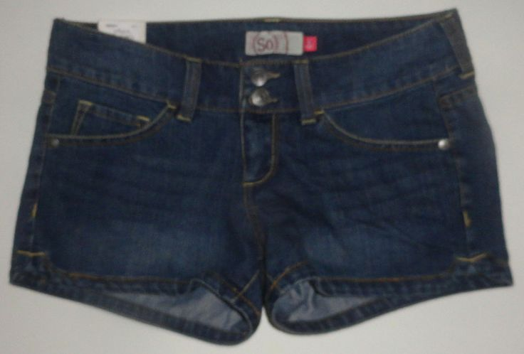 Ladies SO Denim Five Pocket Dolphin Hem Shorties Juniors Size 3, 9, 11, 13, 15 #SO #Denim