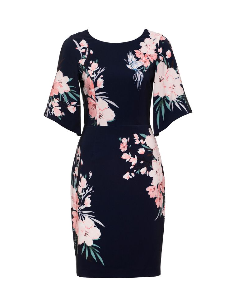 Free As Bird Dress | Navy and Multi | Dresses