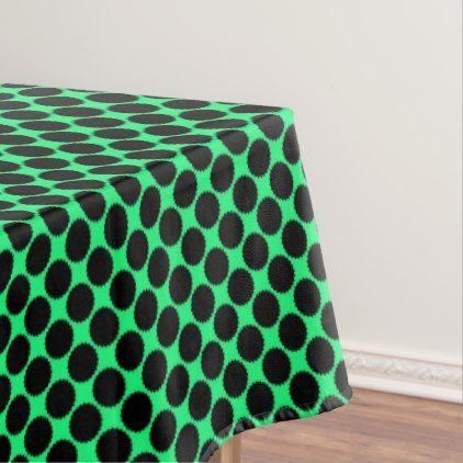 Nice Black Polka Dots On Kiwi Green Tablecloth
