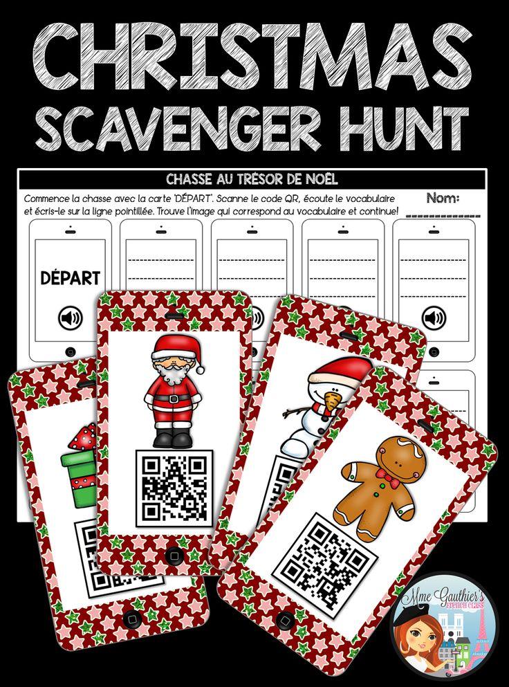 French Christmas QR Codes Activities | Le Vocabulaire de Noël | QR Codes Scavenger Hunt, QR Codes Cards & Worksheets!