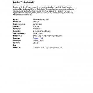 Polybags Perú Prácticas Pre-Profesionales Estudiante de los últimos ciclos en la carrera profesional de Ingeniería Industrial, con disponibilidad de tiempo. http://slidehot.com/resources/convocatorias-de-personal-27-oct-10.42340/