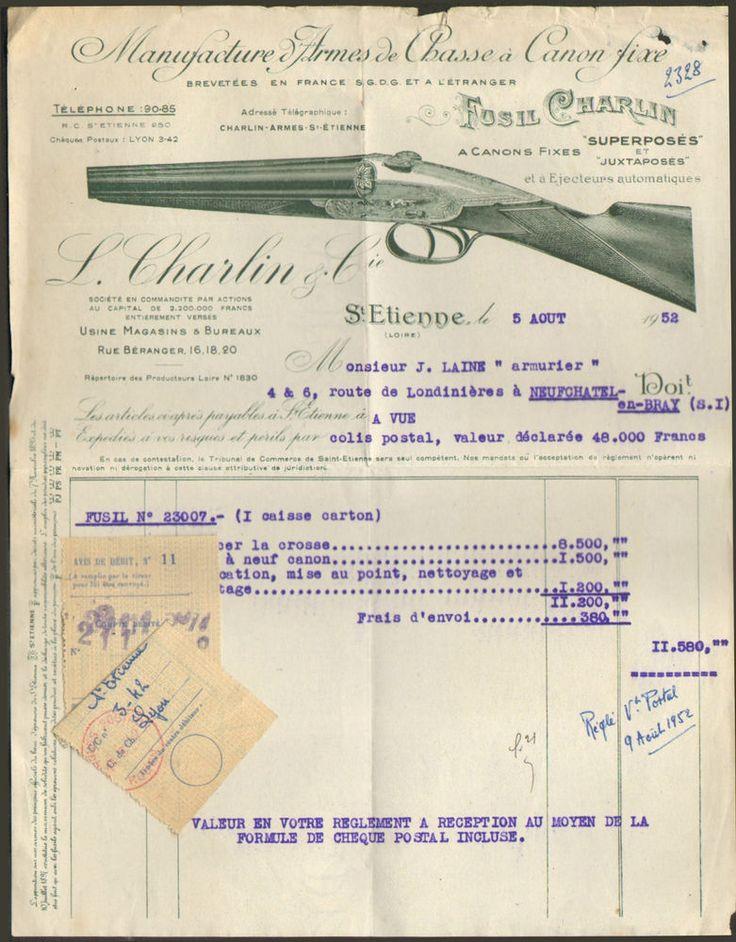 42 SAINT-ETIENNE FACTURE ETS CHARLIN MANUFACTURE FUSILS DE CHASSE 1952
