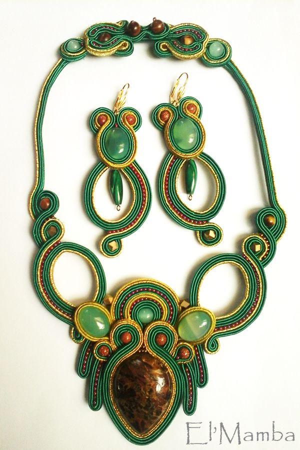 soutache necklace, soutache earrings, emerald green soutache set