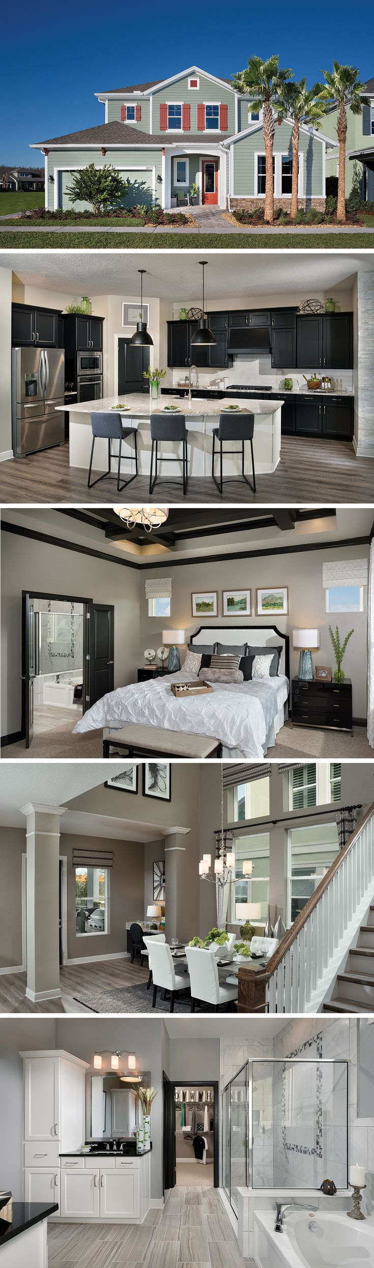 The Mendocino by David Weekley Homes in Asturia is a 4 bedroom floorplan that features a lanai, an open kitchen and family room layout and a tray ceiling in the owners retreat. Custom home upgrades include an extended lanai, beams in the owners retreat and a super shower in the owners bathroom.