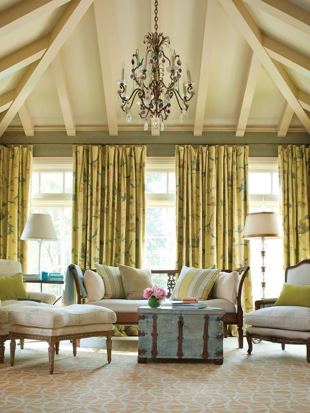 Traditional Yellow Living Rooms And Trunk Coffee Tables