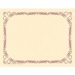 Arabesque Plum Border Paper! Design and create your very own special event invitation, program, diploma, award or certificate with this original preprinted border and your favorite word processor or page layout program. 50/pack