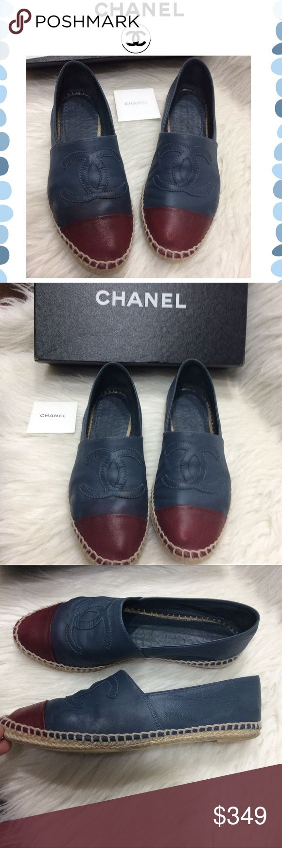 Authentic Chanel Espadrilles Authentic blue & burgundy leather Espadrilles. Preowned condition. They show wear throughout. Rubbing on edges, sides and top of the shoe. Some light discoloration and color fading as shown. No rips or tear. Super cute & comfy. This pair is from the first Espadrilles a few years back . Original box included. Size 39 but run as size 7/7.5. I'm a size 7 and they fit great CHANEL Shoes Espadrilles