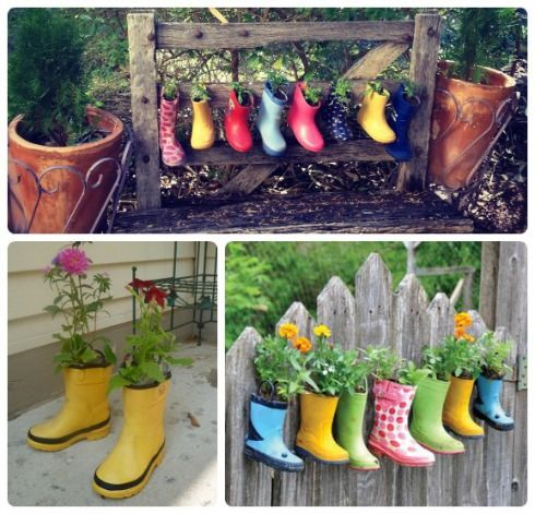 Recycling gumboots wellies kathymaxeywilliams outside for Recycled garden art ideas