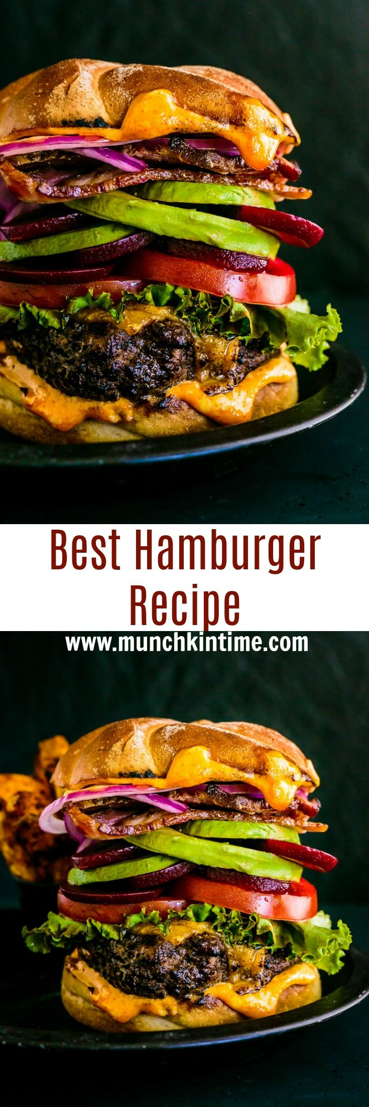 Best Hamburger Recipe – homemade patties filled with gooey cheddar cheese and grilled on a high heat, followed by more cheese on top. It is so GOOD!!! Just imagine biting into this moist and cheesy gooey goodness.  It is like a mouth orgasm!  I mean, who can say NO to this sexy burger?!? www.munchkintime.com