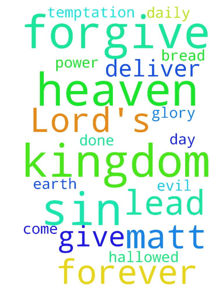 The Lord's Prayer -  Our Father in heaven, Hallowed be Your Name Your Kingdom come Your Will be done on earth as it is in heaven Give us this day our daily bread And forgive our sins, As we forgive those who sin against us. And lead us not into temptation, But deliver us from evil Its Your Kingdom, Its Your Power and Its for Your Glory, forever Matt 6914. In The Name of Jesus.  Posted at: https://prayerrequest.com/t/TeW #pray #prayer #request #prayerrequest