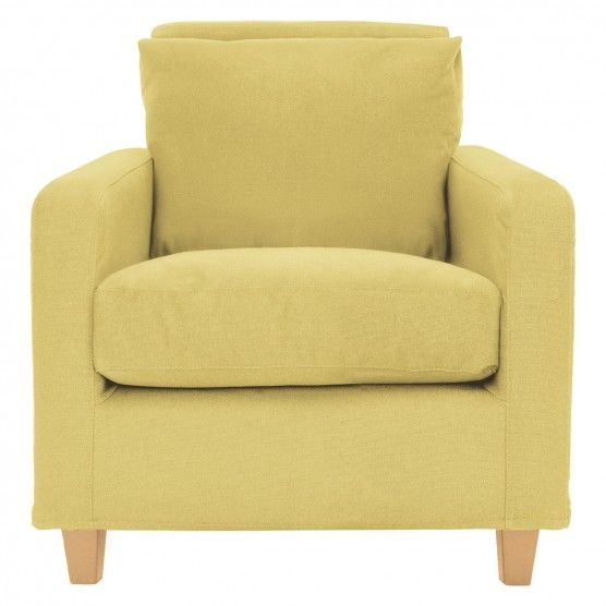 CHESTER Yellow fabric armchair, oak stained feet | Buy now at Habitat UK