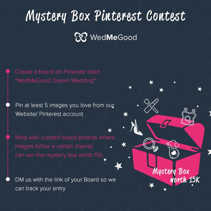 Mystery Box Pinterest Contest - Follow the instructions to win a Curated Box worth 15k by WedMeGood | WedMeGood #wedmegood #pinterestcontest #indianwedding #goodies #win #contest #mysterybox #pinittowinit #newyears #indianbride #mystery