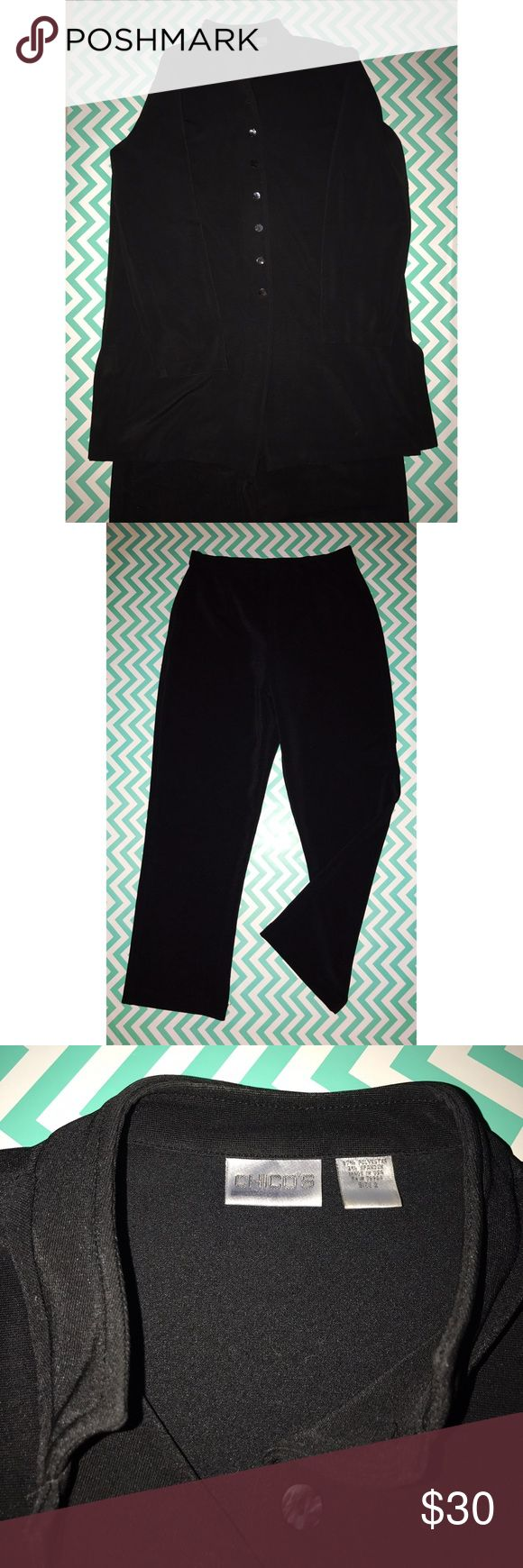 Chicos leisure travel suit This Black chicos leisure travel suite is a size chicos 2 which is a regular USA 10/12. This suit is wash a wear wrinkle free! The waste band on the pants is an elastic waist band. There is light fading in the inside of the collar. Chico's Other