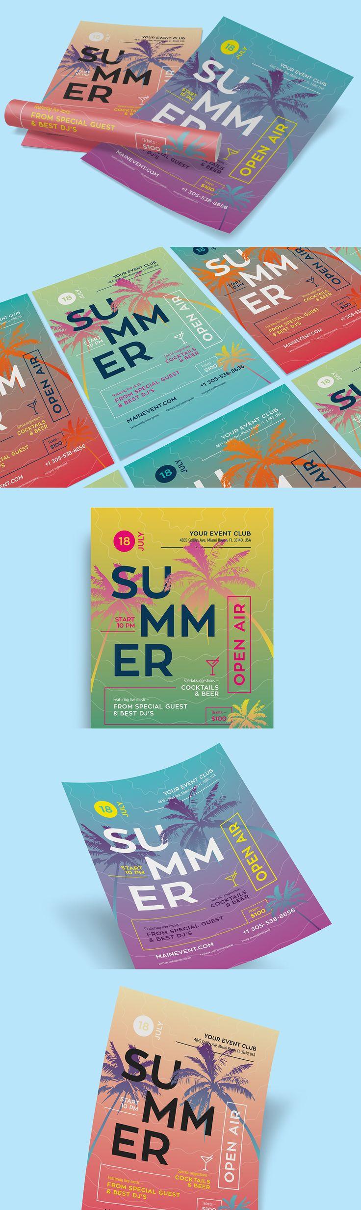Summer Flyer / Poster Template AI, EPS