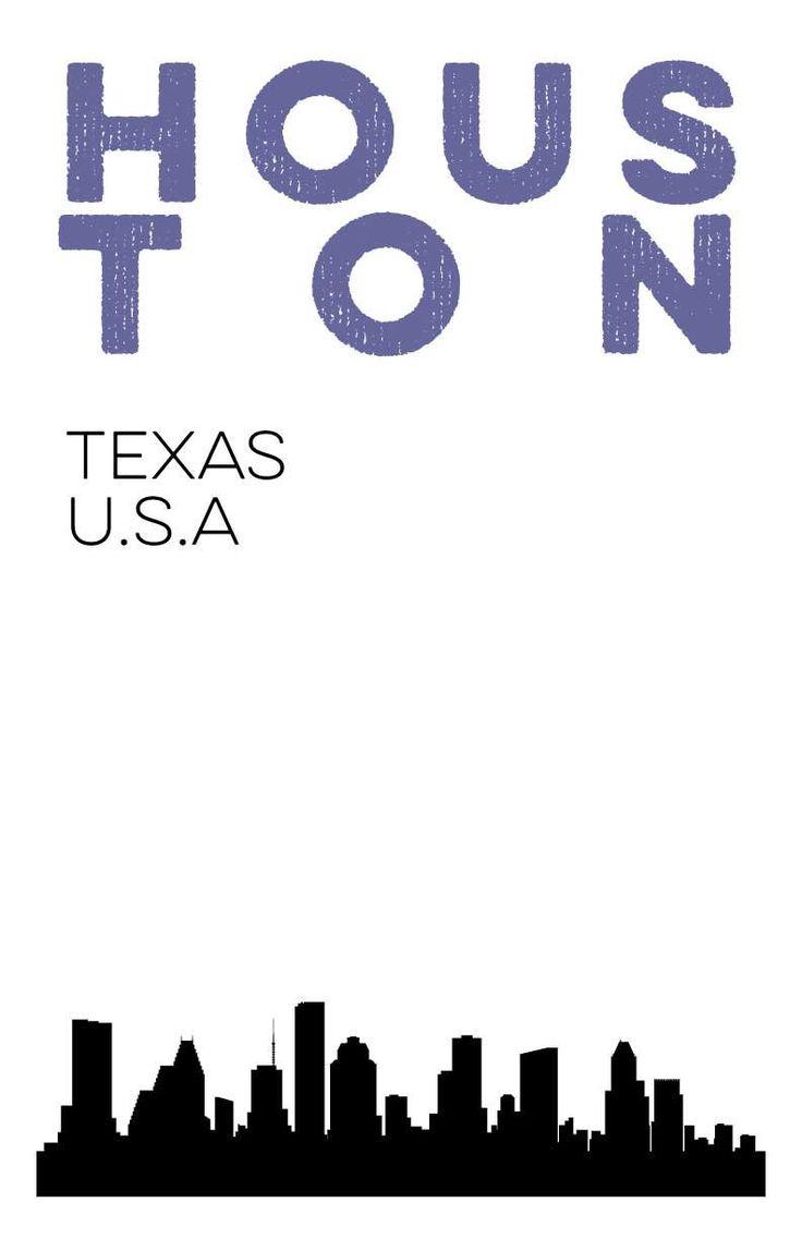 Houston, Texas City Skyline Digital Print. 11x17 Poster.