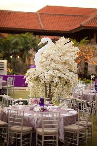The 19 best wedding decor options images on pinterest wedding table centerpieces swan table centerpiece lilac and whitewedding design company junglespirit Image collections
