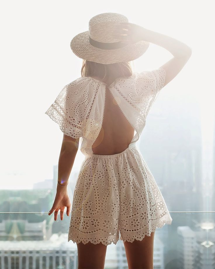 White, lace romper with open back