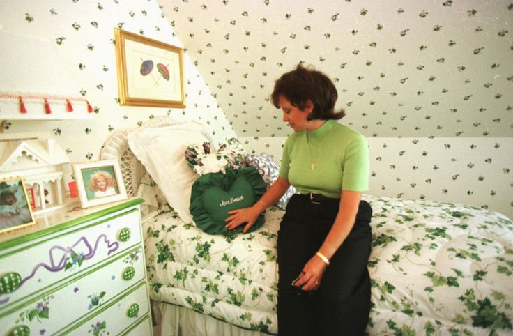 Patsy Ramsey sits in JonBenet Ramsey's bedroom in one of the family's homes Aug. 16, 1997 at an undisclosed location. Most likely taken at their Charlevoix, MI home.