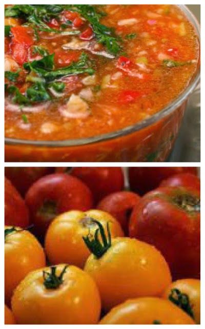 Gazpacho Recipe with Red and Yellow Tomatoes (and Cooking with Friends) [from KalynsKitchen.com] #LowCarb #GlutenFree #SouthBeachDiet #Vegan