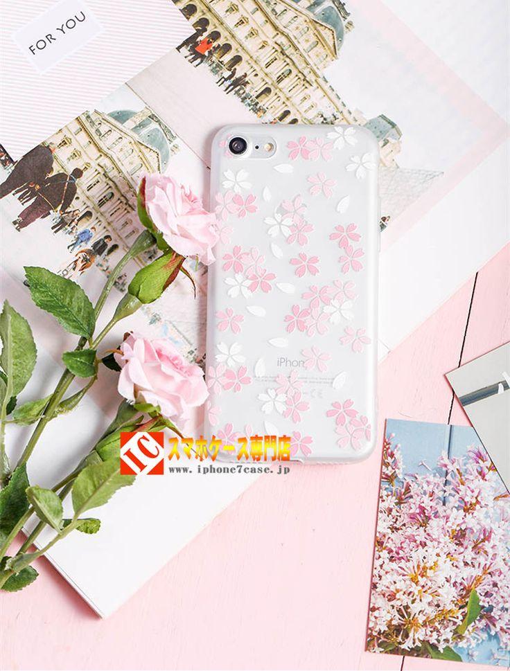 綺麗桜さくら花びらアイフォン7/6s 浮き彫り絵柄 iPhone7plusケース