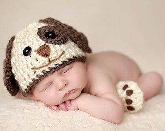 Perfect Photo Opp with Jameson & the Pups: Baby Boy Hat PUPPY LUV Newborn Baby Boy Crochet Doggy Hat and Paws ...