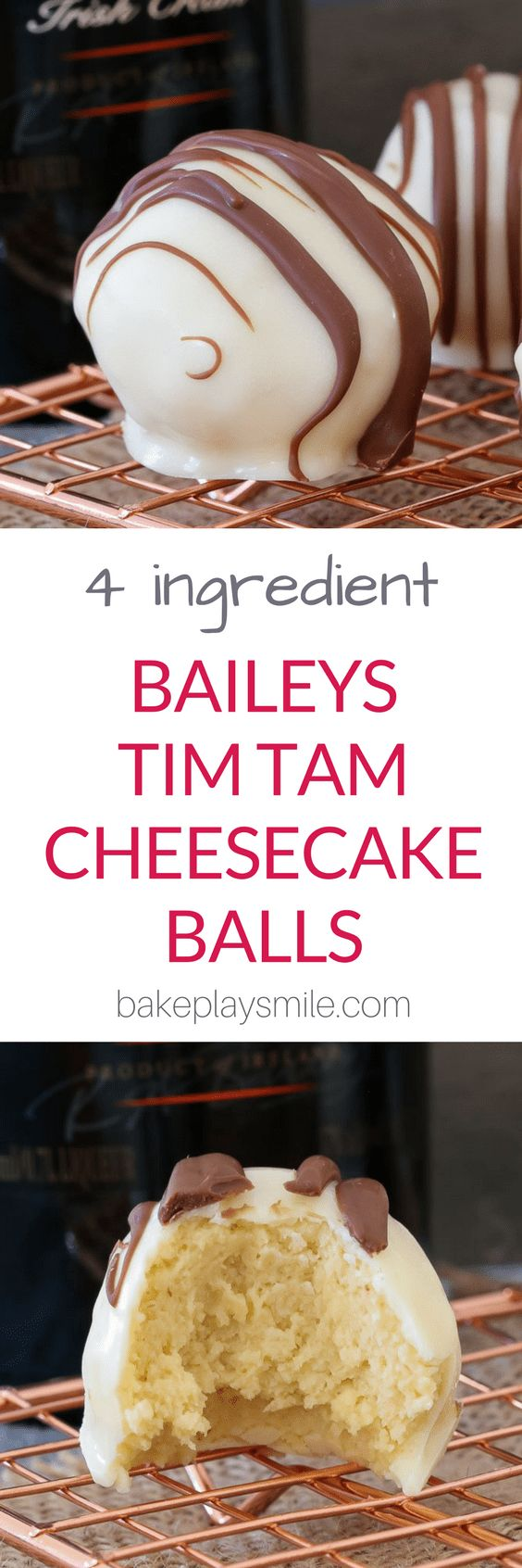 Rich, creamy and oh-so-delicious! These 4 ingredient, no-bake Baileys Tim Tam Cheesecake Balls are the perfect gift for family or friends… or the yummiest little sneaky late night treat! #baileys #cheesecake #nobake #dessert #chocolate #boozy #thermomix #