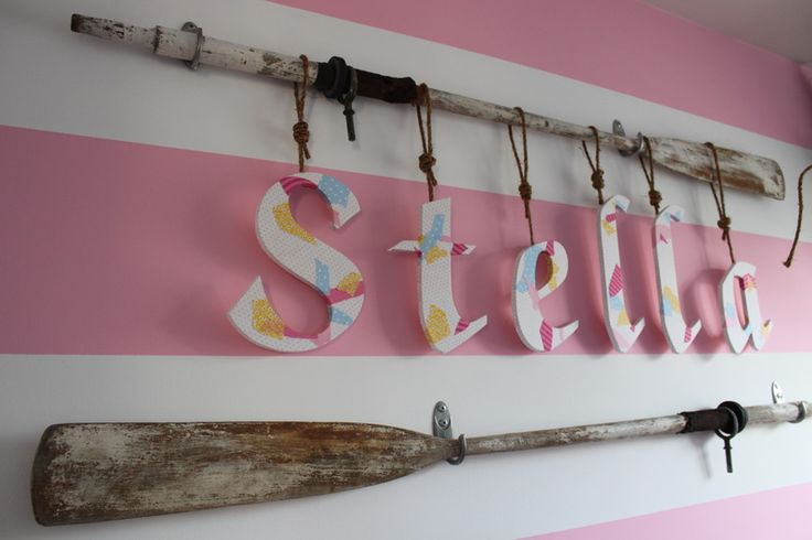 Stella's Room Photos (11) I like the letters hanging by rope.  PLAY