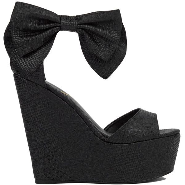 Privileged by J.C. Dossier Privileged by J. C. Dossier Ankle Bow Black... ($52) ❤ liked on Polyvore featuring shoes, heels, wedges, black, platform shoes, high heel shoes, sexy wedge shoes, black ankle strap shoes and black platform shoes