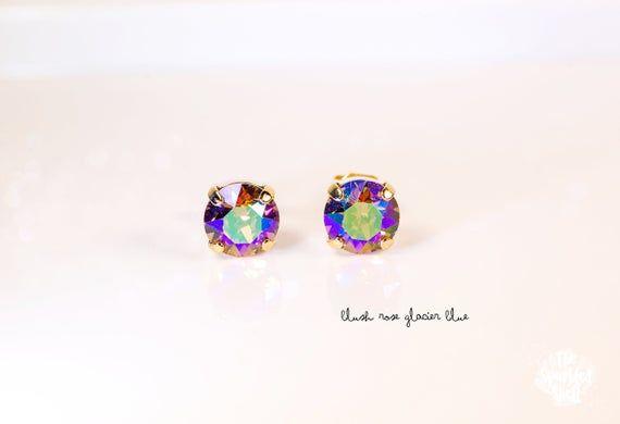Pink Emerald Rectangle Earrings 8mm Dark Crystal Stud Made with SWAROVSKI